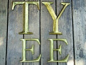 LARGE VINTAGE LETTER TYPE  E T  & Y  ANTIQUE STYLE GOLD FINISH WALL ART MONOGRAM