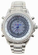 Herrenuhr Jay Baxter Herren Uhr Metallarmband Silber Edelstahl Groß LED Anzeige