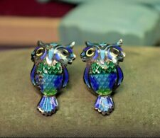 Estate antique vintage fine 980 sterling silver and enameled owl earrings