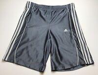Adidas Basketball Gym Shorts Boys Sz XL ? Gray White Three Stripes Logo Elastic
