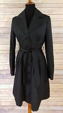 Women's H&M Black Polka Dot Long Trench Coat Belted Lined Cotton Polyester Sz 6