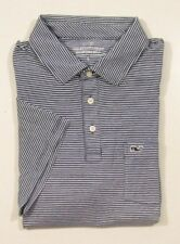 Vineyard Vines Men's S/S Deep Bay Blue Edgartown Feeder Striped Pocket Polo