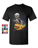 Cat Flying a Rainbow Burger T-Shirt Funny Astronaut Kitten Space Mens Tee Shirt