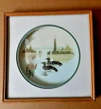 "Ducks Art Framed under glass mixed media 10 1/2""x 11 1/2""  2 ducks in pond"
