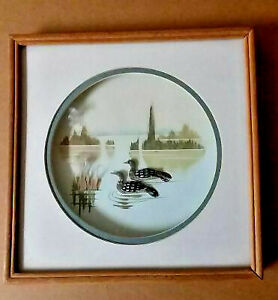 "Ducks Art Framed under glass mixed media 10 1/2""x 11 1/2""  2 ducks in pond"