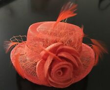 Orange Feather Mini Hat with Rose and Net (free postage)