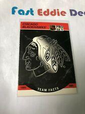 PRO SET NHL HOCKEY 1990 CHICAGO BLACKHAWKS TEAM FACTS CARD 569 EXCELLENT