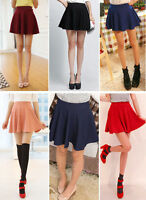 Women Sexy Stretch High Waist Pleated Flared Mini Base Skirt Skater Dress Party