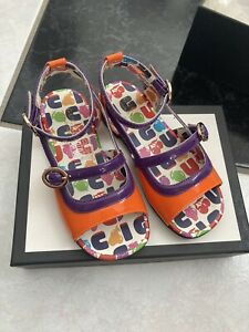 NIB 100% AUTH Gucci Toddler Beatrice Orange/Purple Patent Leather Flat Sandals