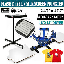 4 Color Screen Printing Press Kit Machine 2 Station Silk Screening Flash Dryer