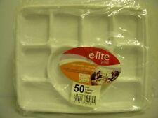 50 x Plateau-repas jetable - 9 compartiments dont 1 en forme de coeur - blanc