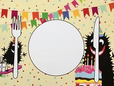 PAPER PLACEMATS for Kids 36 In 3 Different Fun Monster Designs 43 X 29 CM Party