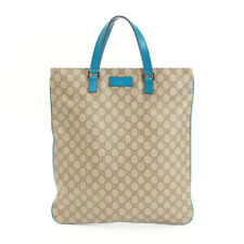 eb795d283cf198 GUCCI Leather Tote Bag GG Pattern Blue Authentic women Handbag