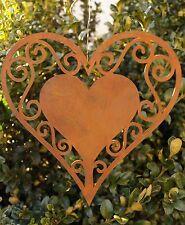 Edelrost Herz filigran 17cm zum Aufhängen Fensterschmuck Gartendekoration Metall