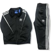 Adidas Unisex 3-Stripes Track Suit in Black & White Size 2T