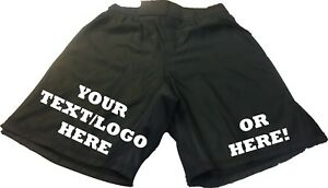 MMA FIGHT SHORTS - PLAIN or PERSONALISED - UFC, Cage, Martial Arts - ALL BLACK