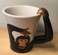 Pier 1 Import Large Coffee Cup Mug Brown Chimp Monkey Ape Arm Handle White 17oz