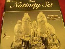 Nativity Set clear glass figures Mary Joseph Baby Jesus 3 wisemen New in Box