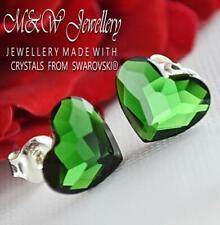 925 SILVER STUD EARRINGS CRYSTALS FROM SWAROVSKI® 10MM HEART - Dark Moss Green F
