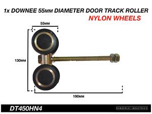 Downee Shed Door Track Roller 4 Wheel Nylon Carriage 55mm Diameter Wheels