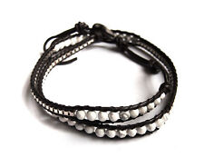 Handmade Leather wrap bracelet, 4 mm faceted howlite bead with metal chain, 16""