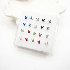 20 Pcs Silver Mixed Color Crystal Mickey Mouse Straight Bar Rod Nose Stud