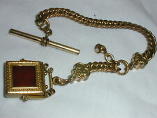 VICTORIAN GOLD FILLED WATCH CHAIN WITH SWIVEL FOB- INTAGLIO & CARNELIAN!