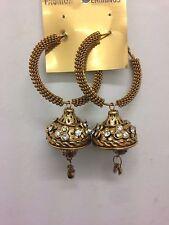 New Latest Indian Bollywood Costume Earrings Jumki Jhumka Bronze Gold Vintage