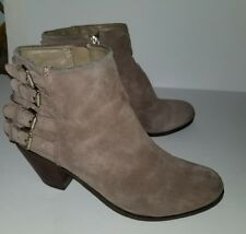 Sam & Libby khaki tan suede side buckles zip ankle boots. 9.5