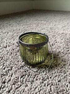 Green Mercury Glass Tealight Holder Lantern