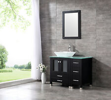 "New 36"" Ceramic Sink Bathroom Vanity Cabinet Solid Wood Modern Design w/Mirror"