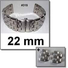 Edelstahlband massiv 22 mm matt #315 + 2 Glieder Uhrenarmband Butterfly-Schließe