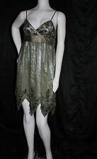 PAPELL BOUTIQUE EVENING FORMAL DRESS GREEN SILK BLACK BEAD DECORATIONS SIZE 4 6