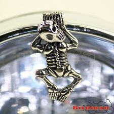 Small Chrome Skull Skeleton Ornament For Harley Chopper Headlight Visor Fender