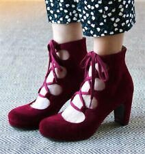 CHIE MIHARA SHOES JAMARA LACE UP PLATFORM BOOTIES HEELED ANKLE BOOT RED SUEDE 37