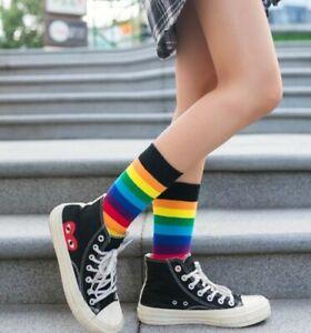 Luxury Rainbow Sporty Retro Black Lace Designer Unique Novelty Ladies Socks UK 4
