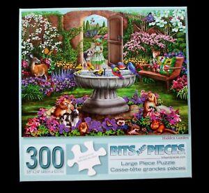 "Bits and Pieces 300 large pc.puzzle ""Hidden Garden"" flower garden"