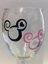 MICKEY/Minnie Mouse Vinyl Decal Adesivi x 4 Vino in Vetro Decalcomania