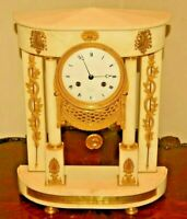 Antique French Chantelot Marble Ormolu Bronze Dore Portico Pendulum Mantel Clock