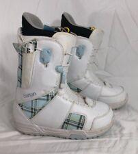 Burton Mint Women's Snowboard Boots Size 7 White Blue True Fit Imprint