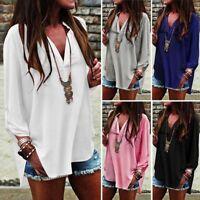 HOT Women Summer Loose Chiffon Tops Long Sleeve Casual Blouse T-Shirt Plus Size