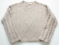 Thanne Size S M Cable Knit Jumper Oversized Boxy Wool Blend Wide Sleeves