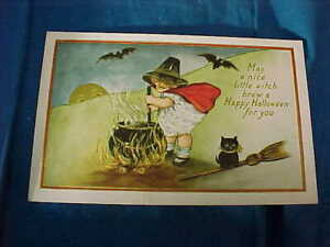Early 20thc HALLOWEEN POSTCARD w Nice LITTLE WITCH Creating a BREW For YOU