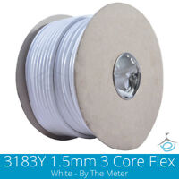 3183Y 13 AMP Electrical Cable White Round Mains Wire Flex 1.5mm 3 Core Per Meter