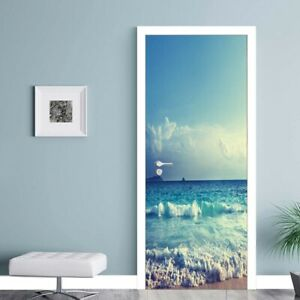 3D Sea Door Wall Fridge Cover Sticker Decals Self Adhesive Wallpaper Home Decor