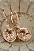 6.20Ct Oval Cut Morganite Diamond Drop & Dangle Earring In 14K Rose Gold Finish