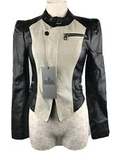 NICOLE BENSITI Women's Black/ White FAUX LEATHER Biker Style Jacket Size S
