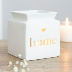 NEW & BOXED - Beautiful White Ceramic Home Heart Cut Out Oil Burner Or Wax Melts