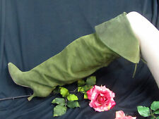 Vintage MANOLO BLAHNIK green SUEDE leather OVER-KNEE thigh high BOOTS $1,200 8-9