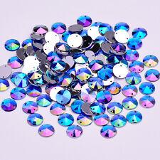 50 X AB Blue Sew on Acrylic Round Diamante Crystal Gems Rhinestone 10mm